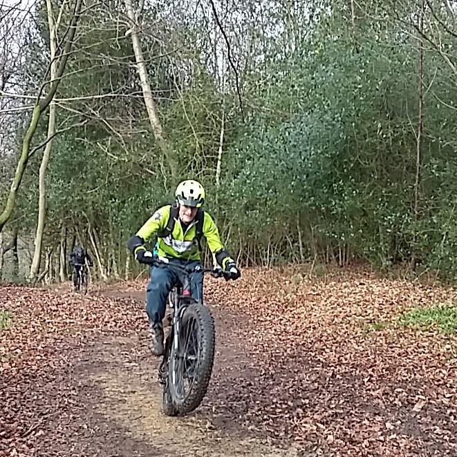 James wheelies his fat bike