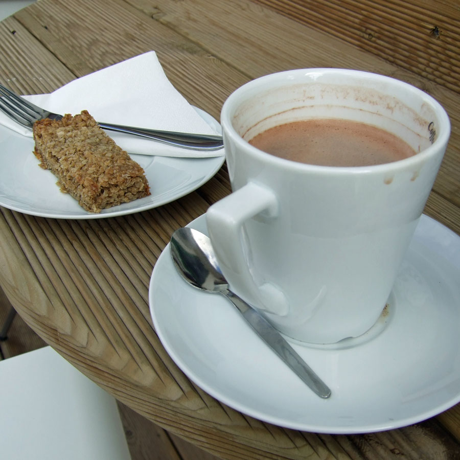 Hot chocloate and flapjack at Bike Beans Cafe in Ashtead