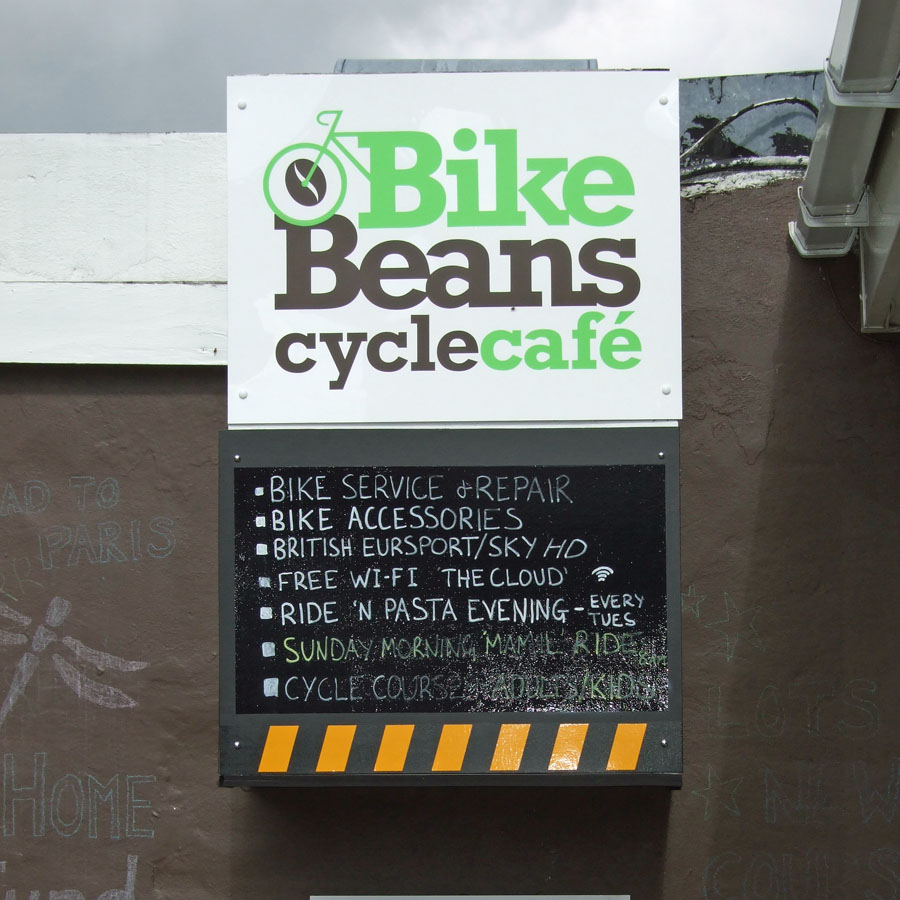 Menu of services at Bike Beans Cafe in Ashtead