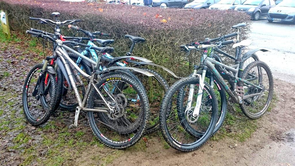 Cold bikes at Newlands Corner