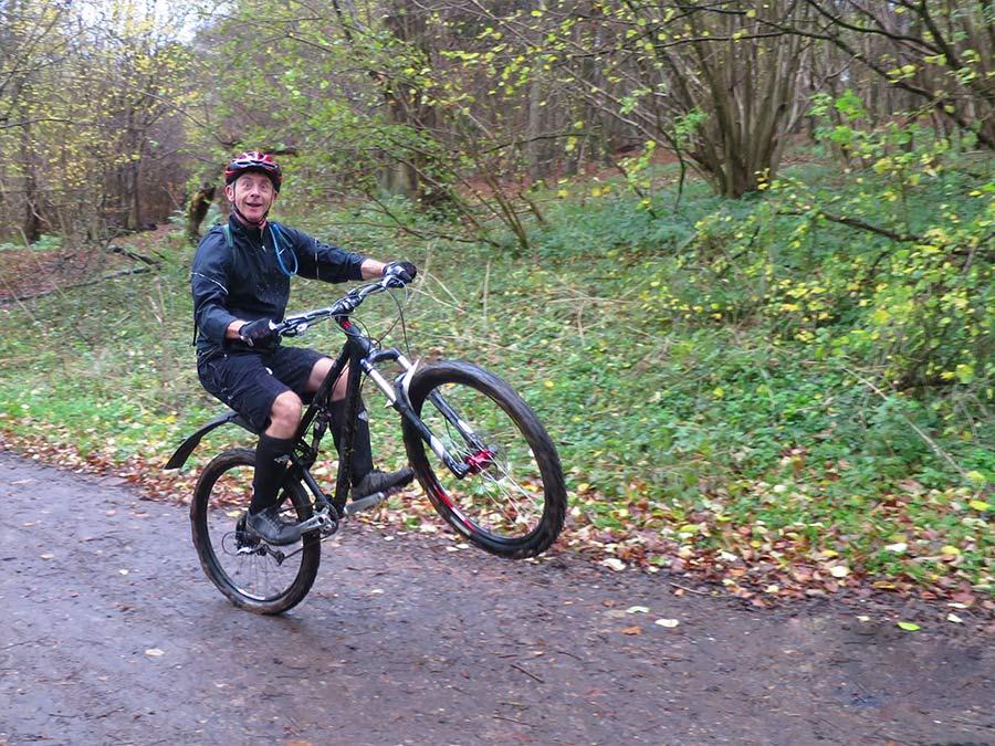 Karl pulls a wheelie at Tanners Hatch