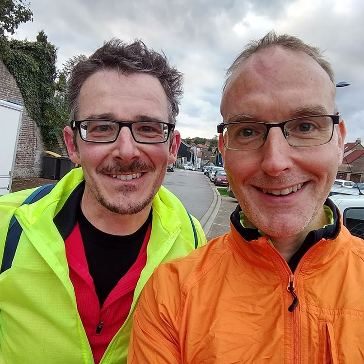 Matt and Mark in Desvres after 93.5 miles!