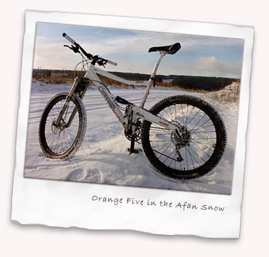 Orange Five in the Afan snow