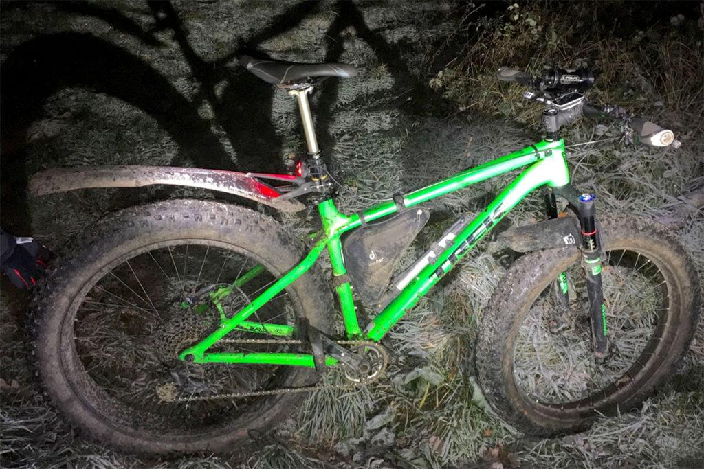 Trek Farley Fat Bike in the frost of Ranmore
